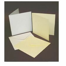 "50 IVORY 5"" x 5"" BLANK CARDS 225gsm & ENVELOPES 100gsm CARD MAKING CRAFT ART 245"