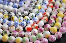 10Pcs China Ceramic Floral Porcelain Round Loose Spacer Beads 10mm