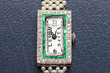 Antique Vacheron Constantin 2ct Emerald Diamond FRENCH CUT Pearl Platinum Watch