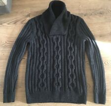 H&M MENS GREY WOOL BLEND CHUNKY SHAWL COLLARED JUMPER SWEATER LARGE VGC