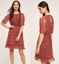 ANTHROPOLOGIE NWT Amber Ruffle Dress by Floreat Red Sz 4 Small $168