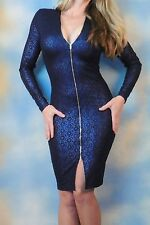 UP TOWN liquid metallic blue full zip down bodycon sexy stretch clubbing dress M