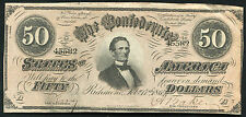 1864 $50 Fifty Dollars Csa Confederate States Of America Currency Note