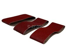 Trade Quality 3 Pack 75mm X 457mm 60 Grit 80 Grit and 100 Grit Sanding Belts NEW