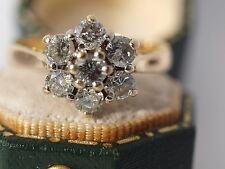 18ct Yellow Gold 1.00 Diamond Daisy Cluster Ring Boxed