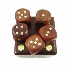 Hand carved Dice Game Shesham Wood / Box Wood Artisans 5 dice set India