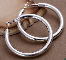 925 Sterling Silver Stamped Plain Creole Tube Hoop Large Earrings 50mm -New s18