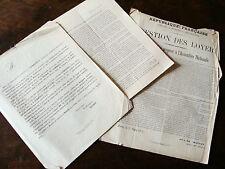 GUERRE 1870 lot de 3 documents lettres circulaires relatives aux vosges alsace