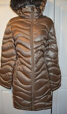NWT Women's  taupe ANDREW MARC Packable Lightweight down JACKET Hood Size Large