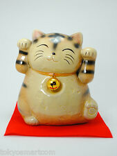 Maneki Neko Tora 5.9in (15cm) 2 hands, Real Japanese Craft Hand Made in Japan