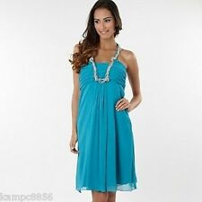 New Debenhams Debut Turquoise Blue Grecian Necklace Dress Sz 16