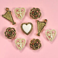 BUTTONS GALORE Cupid 4317 - Gold Victorian Hearts Vintage Harp Rose Dress It Up