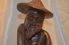 "*VTG-50s Detailed Hand carved Wood Chinese Asian Shoa Lao Statue W cane 12"" Tall"
