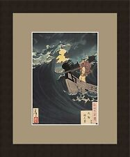 Japanese Wave Sailing Framed Giclee Art Print vintage art woodblock reproduction