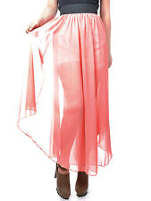 USA Small Fit Rose Pink Chiffon Long Semi-Sheer Princess-Inspired Skirt