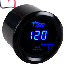 "2"" 52mm Black Cover Car Universal Digital Blue LED Oil Press Gauge Meter PSI"