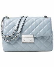 MICHAEL MICHAEL KORS SLOAN DUSTY BLUE QUILTED LEATHER EXTRA LARGE  SHOULDER BAG