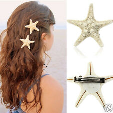 Fashion Women Girls Natural Starfish Star Beige Hair Clip Hairpin Accessories