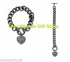 GUESS HEMATITE TONE CHAIN LINK WOMEN'S BRACELET w/ PUFFED HEART PENDANT-NEW+TAG