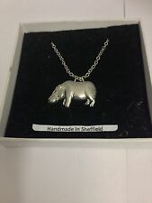 Hippo PP-A41 Emblem Silver Platinum Plated Necklace 18""