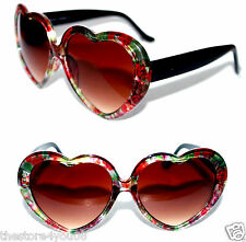 Heart Shaped thick frame Black Red Green Flower Sunglasses Retro Vintage Love