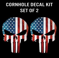 Punisher Skull American Flag Cornhole Decal Sticker Graphic - Set of 2