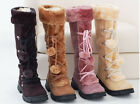 Womens Pom Pom Knee High Boot Mid Heel Platform Lace Up Fur Top Trim Warm Shoes