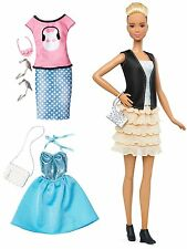 Barbie Fashionista Tall BIONDA bambola con abiti supplementari 2, Nero/Grigio/Blush