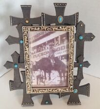 "Multi-Cross Brown & Silver, Scrolls 4"" x 6"" Table Picture Frame NIB"