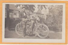 Real Photo Postcard RPPC - Man on Thor Motorcycle - New York Pennant