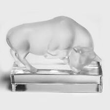 "BULL Lalique Crystal NEW NEVER SOLD Hand Signed made in France 5"" wide 4"" tall"
