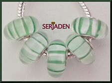 5 Green White Stripe Single Core Beads Fits European 8mm * 14mm & 5 mm Hole B109