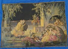 1800s Handmade French Wall Needlepoint TAPESTRY Art 39x56 vtg Antique Rare 19c