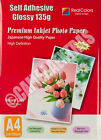 20 Sheets 135gms A4 Self Adhesive Glossy Photo Inkjet Paper Sticker Sticky UK