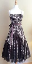 PHASE EIGHT BROWN CREAM SPOTTED EVENING DRESS SIZE 8 BELT
