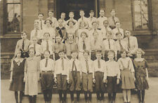 CLASS PORTRAIT OF YOUNG BOYS AND GIRLS IN SCHOOL UNIFORMS - REPRINT 8x10