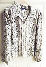 JONES NEW YORK CAREER BEIGE MULTI SILK FLORAL LACE LONG SLEEVE BLOUSE 14 NEW