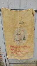 Ancien sac en toile de jute à grains, engrais... Detournable années 40. A374