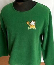 Garfield Paws Fleece Sweater Vintage Pullover Women Sz M Green Embroidered RARE