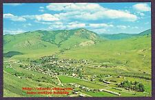 LMH Postcard  GARDINER MT YELLOWSTONE RIVER  National Park Entrance AERIAL 1960s