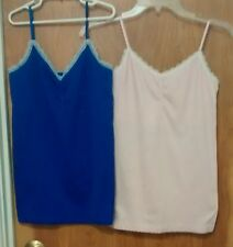 2 NWOT Victoria's Secret L Cami Tank Top Lace Trim Camisole PINK/PURPLE Nylon