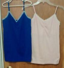 2 NWOT Victoria's Secret L Cami Tank Top Lace Trim Camisole PINK/PURPLE Nylon