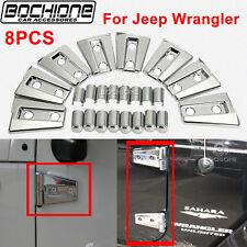 Set ABS Silver Door Hinge Covers Trims Bezel Fit 2007-2016 Jeep Wrangler JK 4D