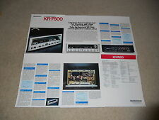 Kenwood KR-7600 Receiver Brochure, 6 pages, Full Specs and Articles, Info, Rare!