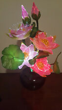 "LED Flower AC PLUG - LIGHT UP PINK LOTUS-Fiber Optic Lights/""Watch Video Below"""