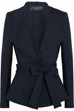DONNA KARAN NEW YORK NAVY STRETCH KNIT BELTED JACKET 12