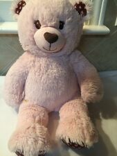 """Build a Bear Pink W/ Brown Patches W/ Pink Hearts 16"""" Plush Valentines Day Girl"""
