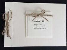 Personalised Handmade Vintage Rustic Twine Bow Wedding Card Guest Signing Book