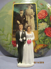 Vintage 1950's Chalkware Brunette Bride and Groom Wedding Cake Topper....Mint!