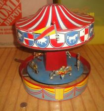 1930's Wolverine Merry-Go-Round Carousel Wind Up Tin Litho Toy